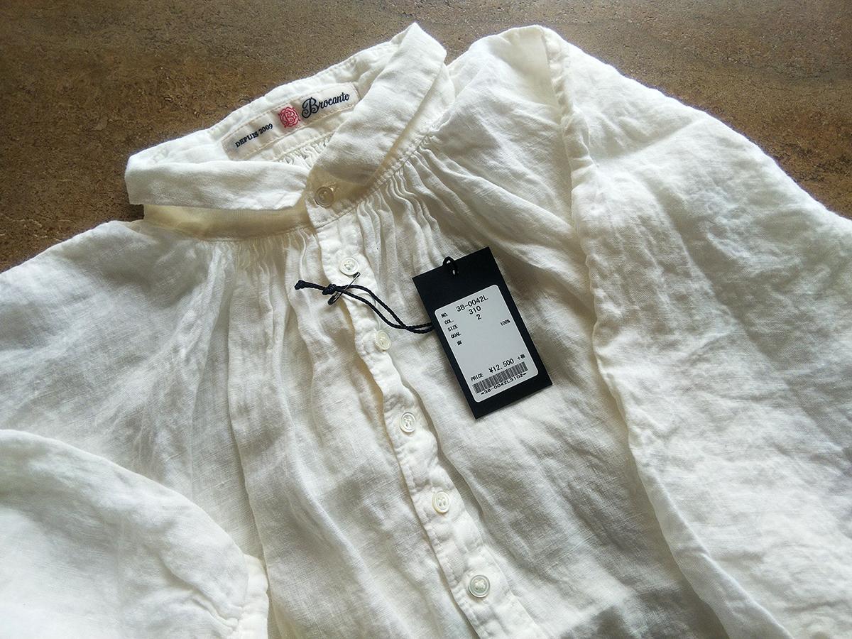 Brocante/リネンキャンバスグランシャツ(ホワイト)