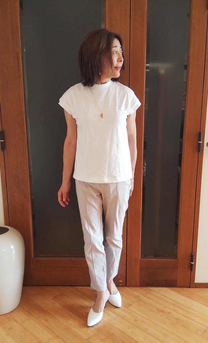 太番手天竺編みフレンチスリーブTシャツとのコーデ