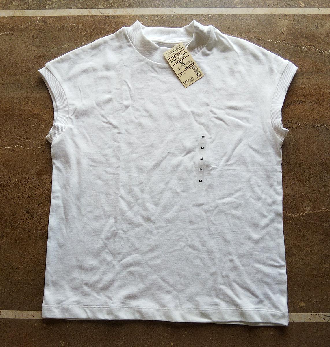 太番手天竺編みフレンチスリーブTシャツ(ホワイト)