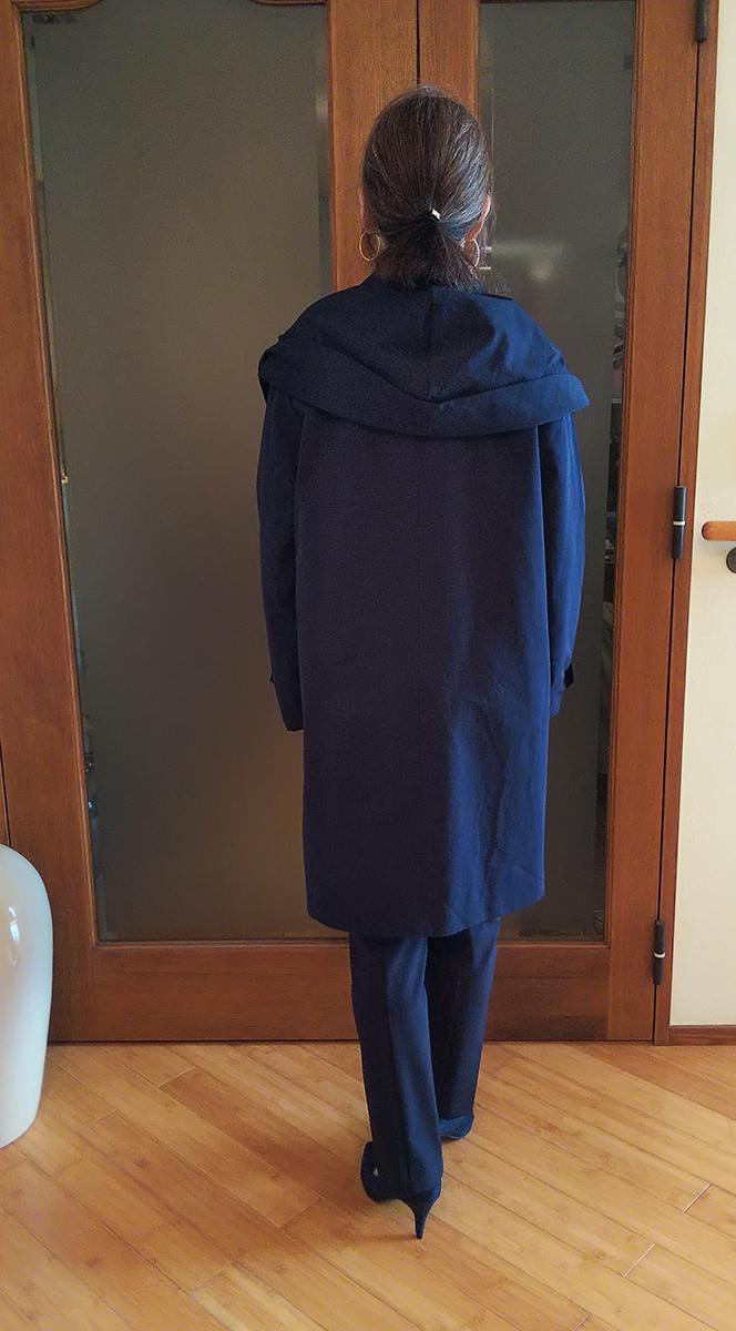 グログランハーフコートのフード