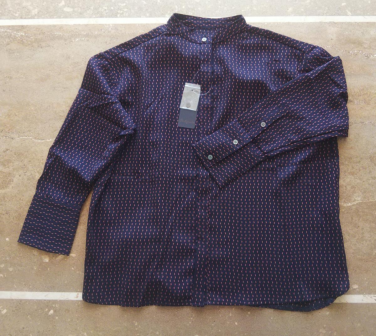 ドットラインシャツ(ネイビー)