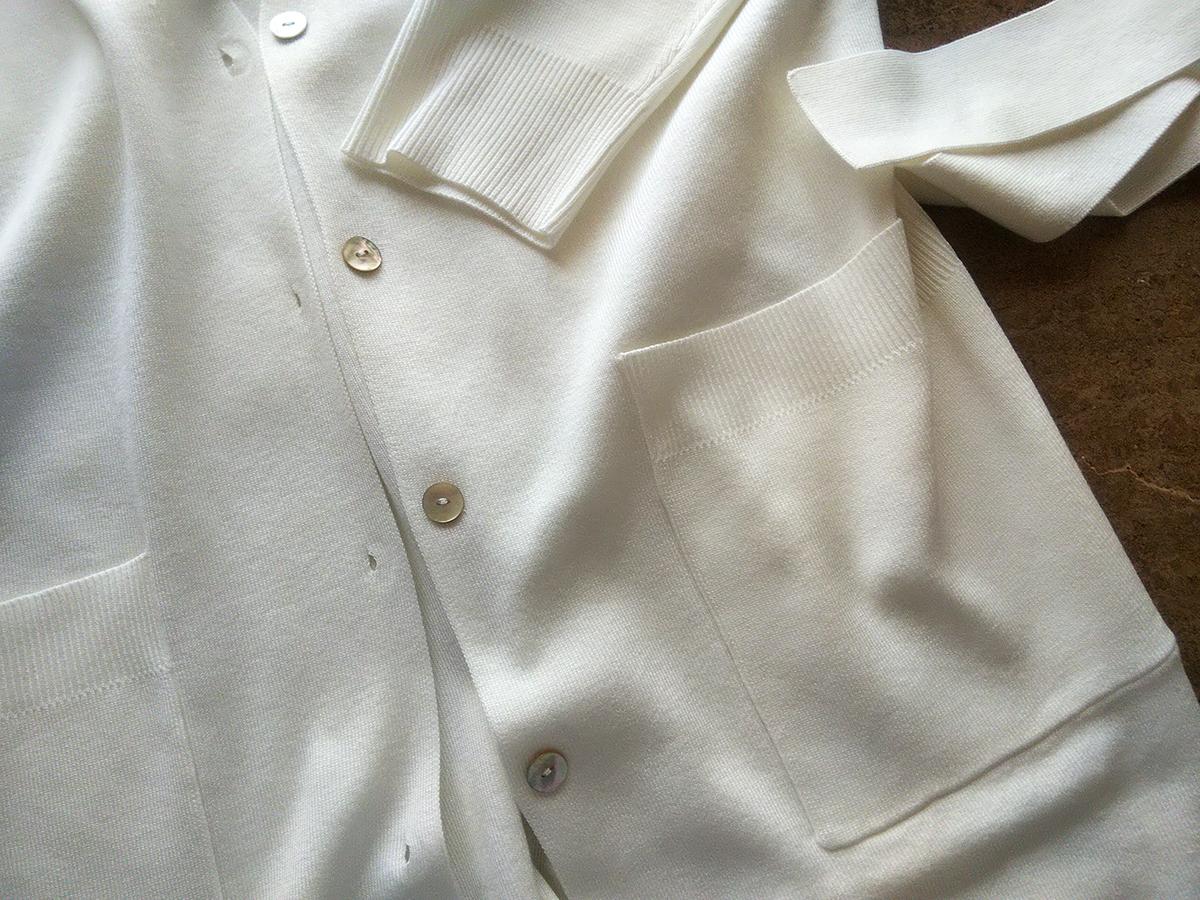 リラクシーニット・総針ロングカーディガン (ホワイト)