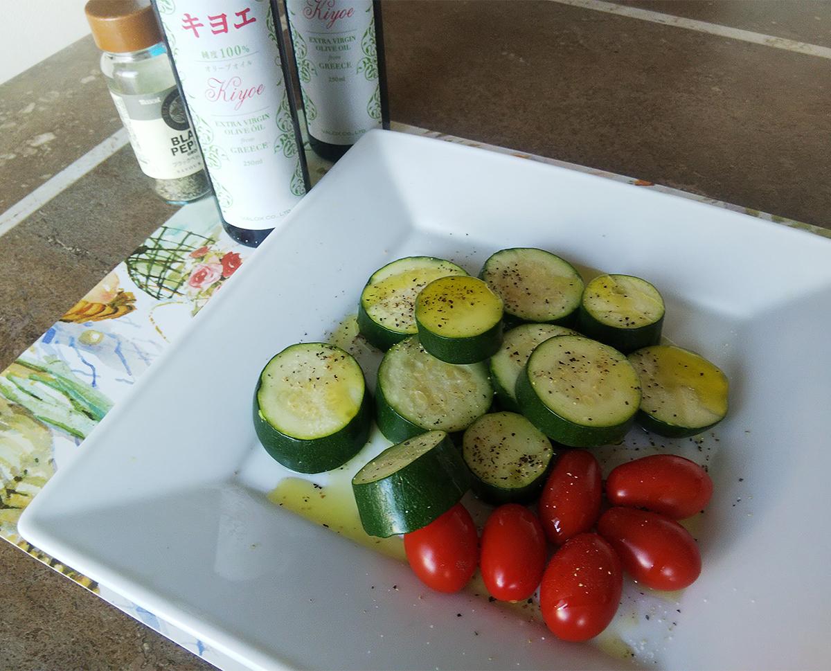 キヨエオリーブオイルと野菜ソテー