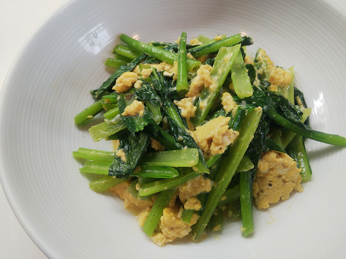 小松菜と卵のオリーブオイル炒め