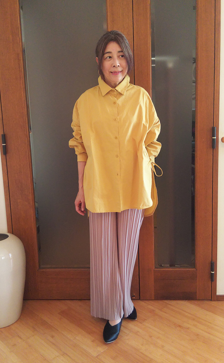 サイドリボンデザインバックロングシャツ