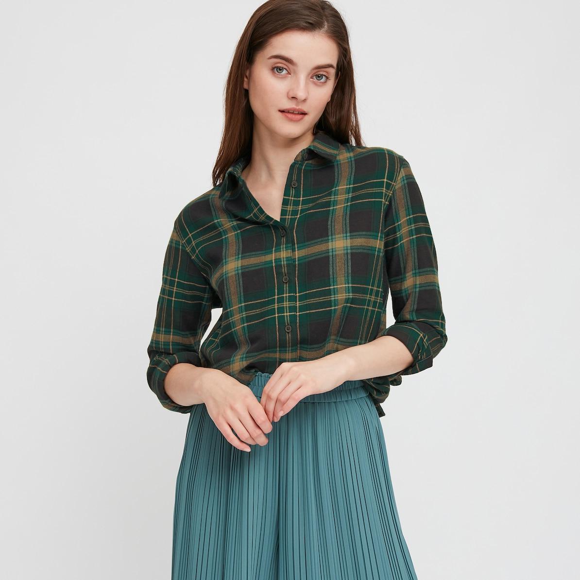 フランネルチェックシャツ(55 GREEN)