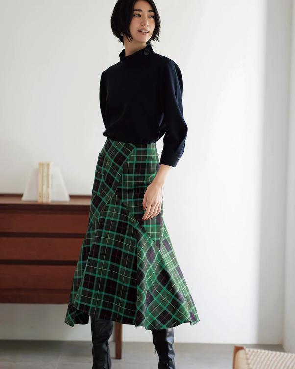 アシメチェック・立体マーメイドスカート