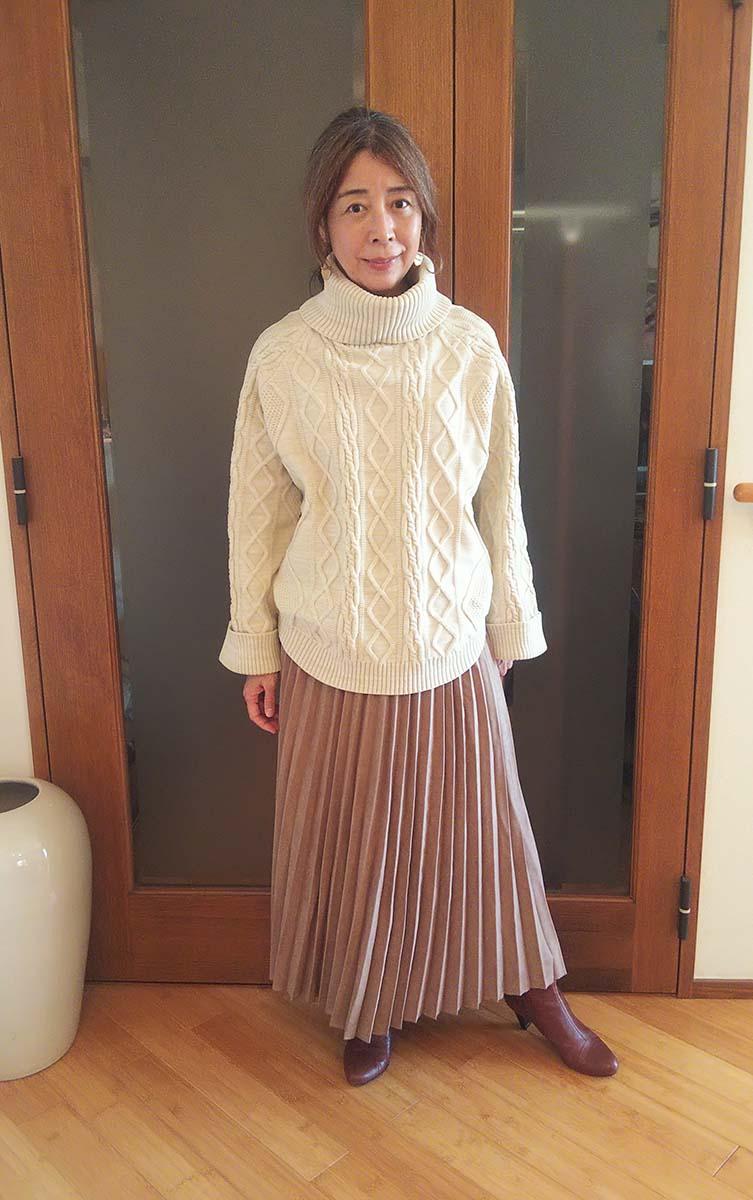 スエードタッチロングプリーツスカート