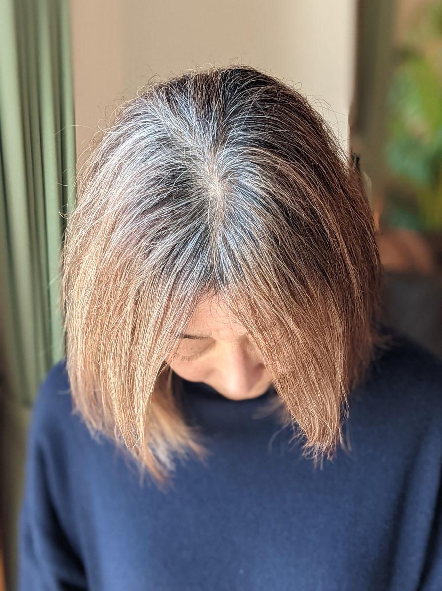 白髪が伸びてきた髪