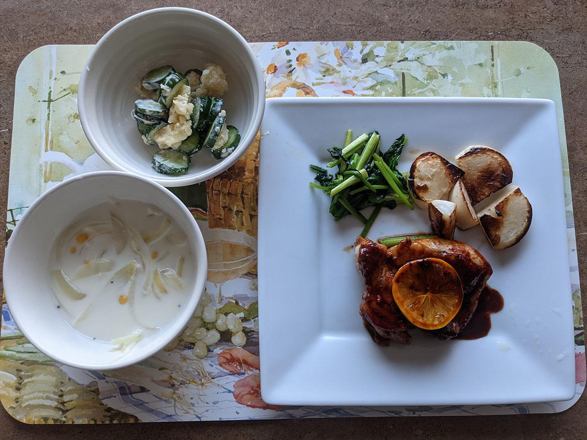 鶏肉のレモン照り焼き、定番!きゅうりのシンプルポテサラ、コーンと玉ねぎのミルクスープ