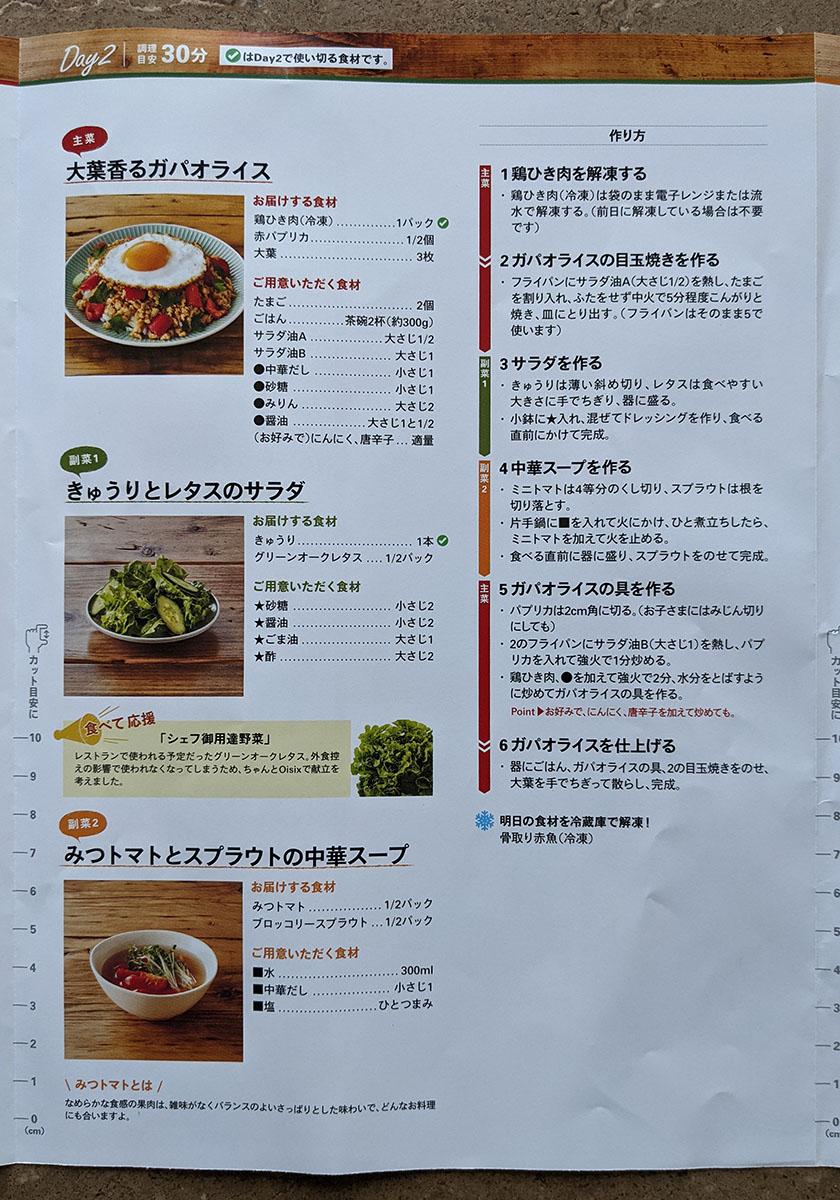 大葉香るガパオライス、きゅうりとレタスのサラダ、みつトマトとスプラウトの中華スープ