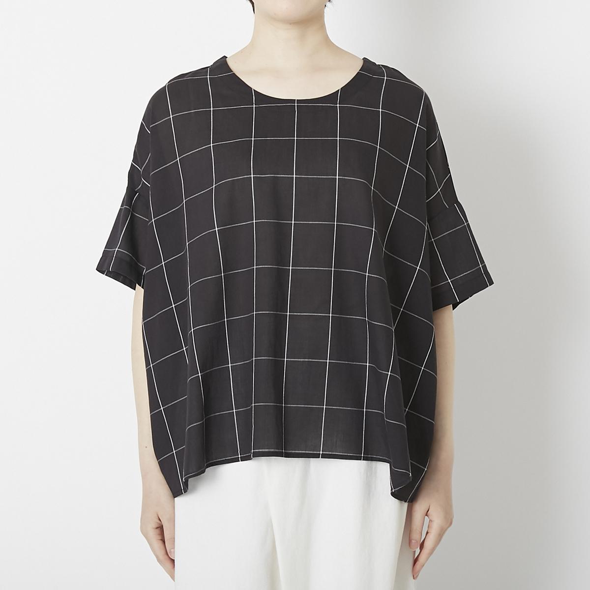 強撚コットンの涼しいシンプルTシャツ(ウインドウペン)