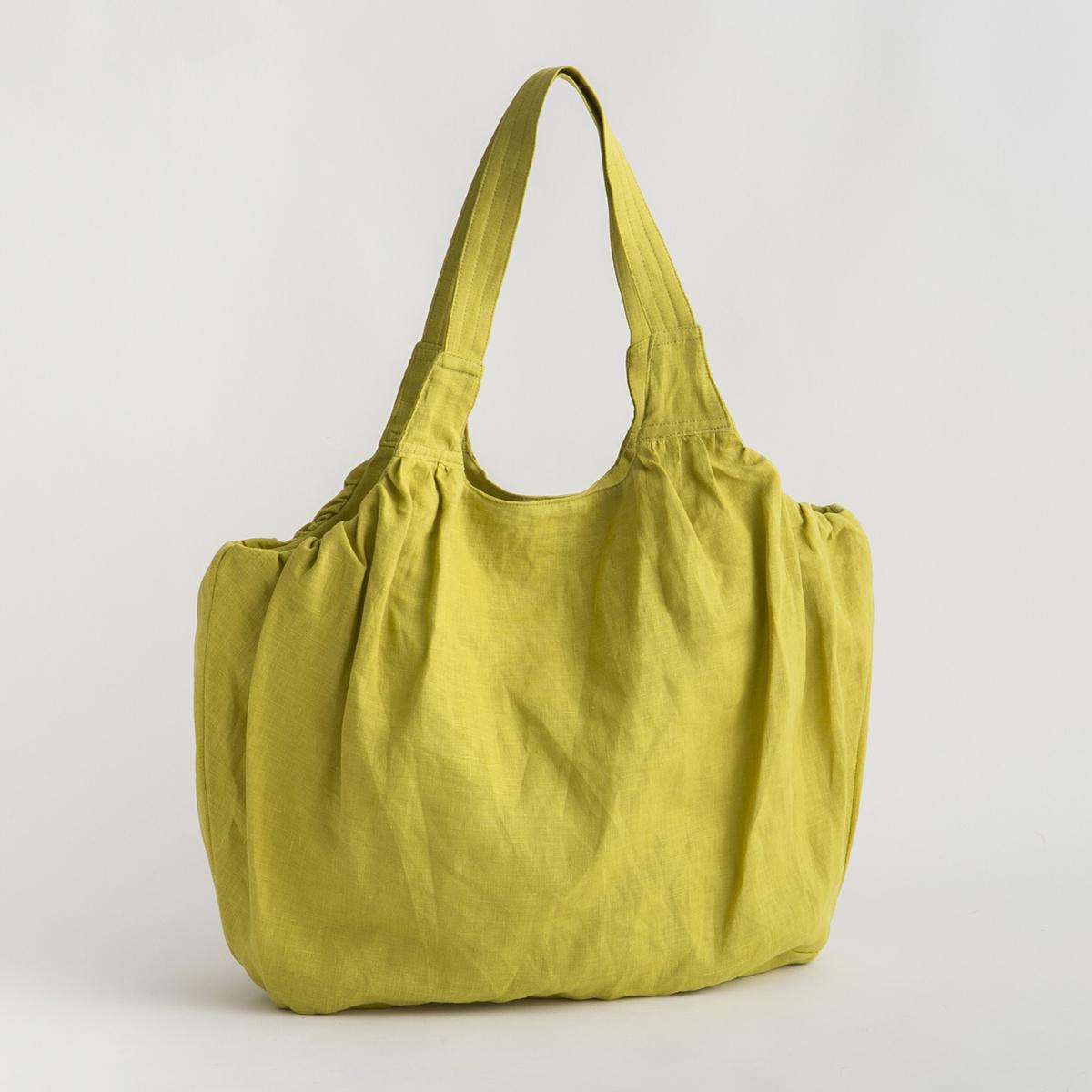 リネンのバルーンバッグ