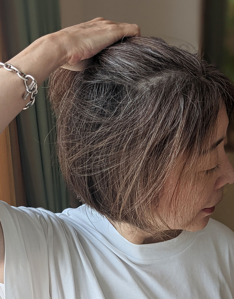 かき上げた髪