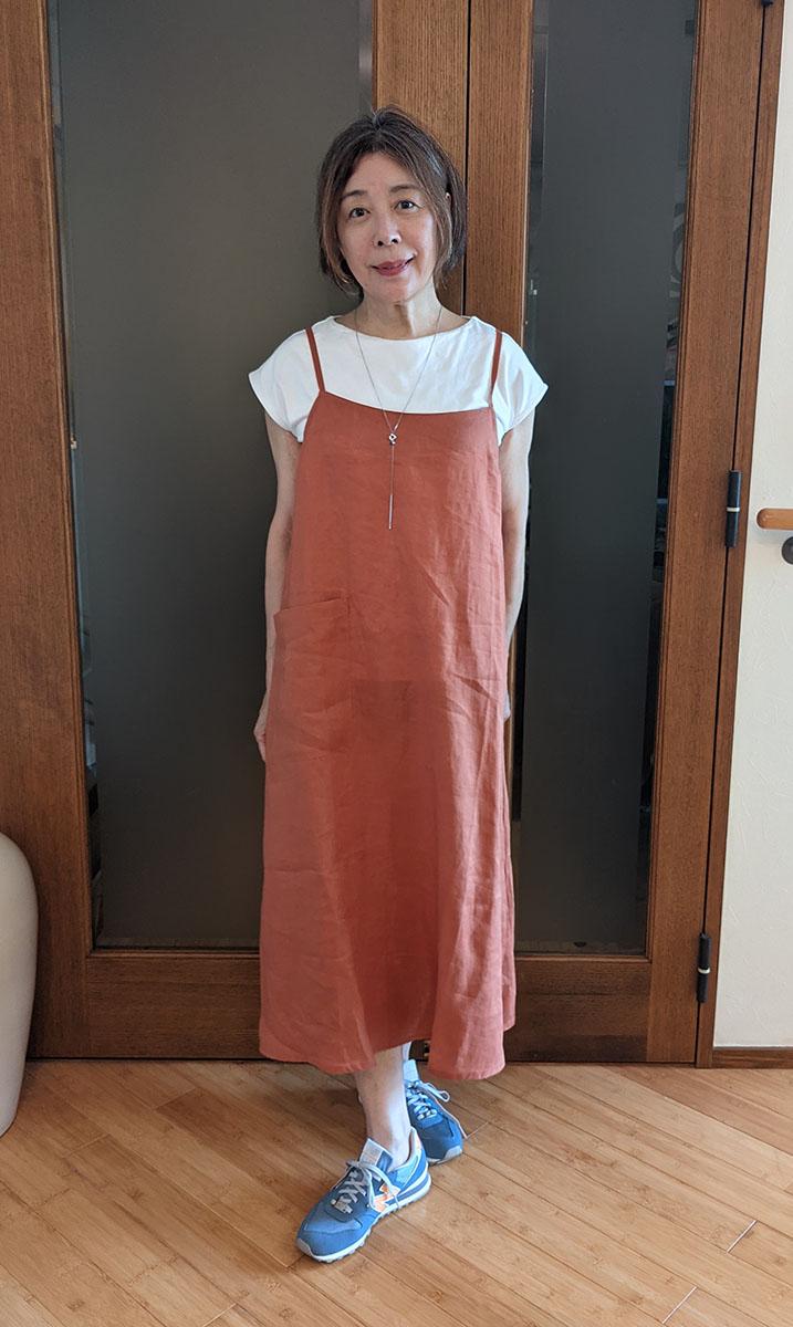 21番リネン・エプロンキャミドレス