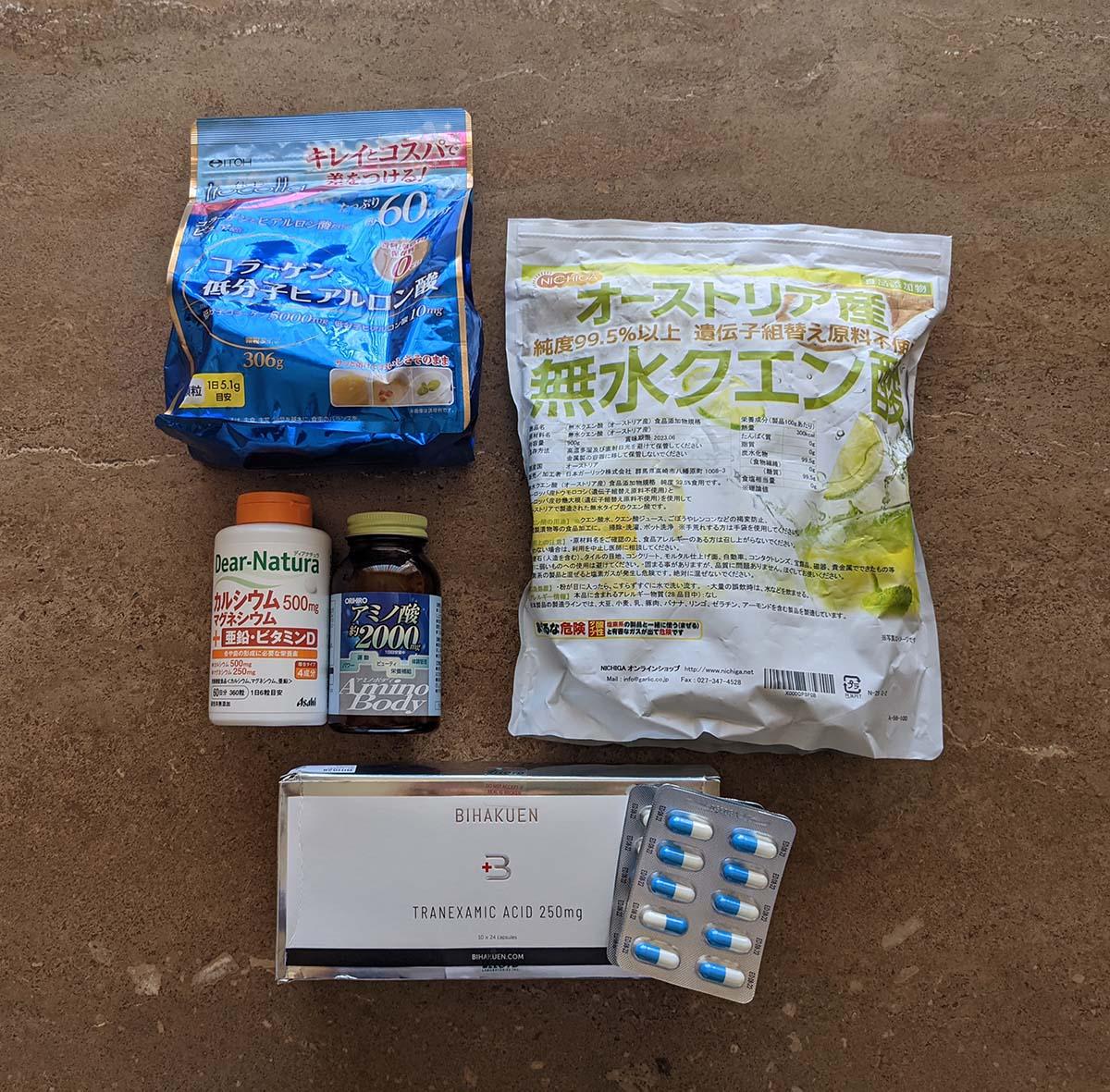 左上からイトコラ、ディアナチュラ、アミノボディ、NICHIGA、トラネキサム酸