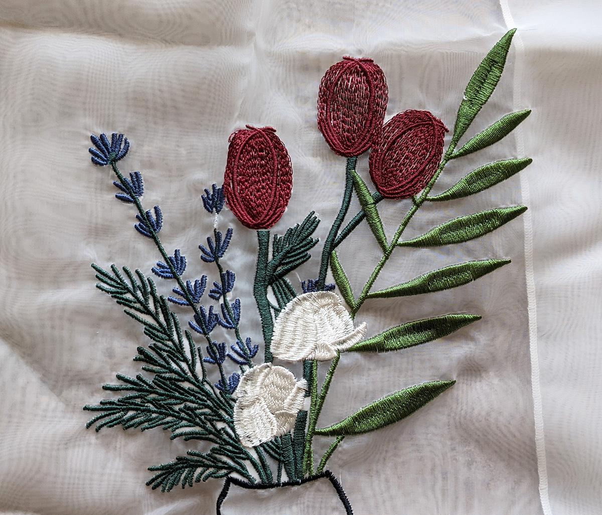 レトロな刺繍