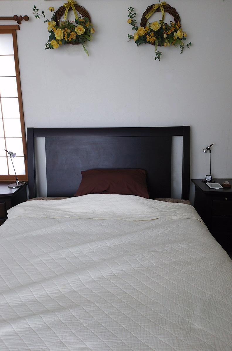クイーンサイズのベッドにパシーマをかけたところ