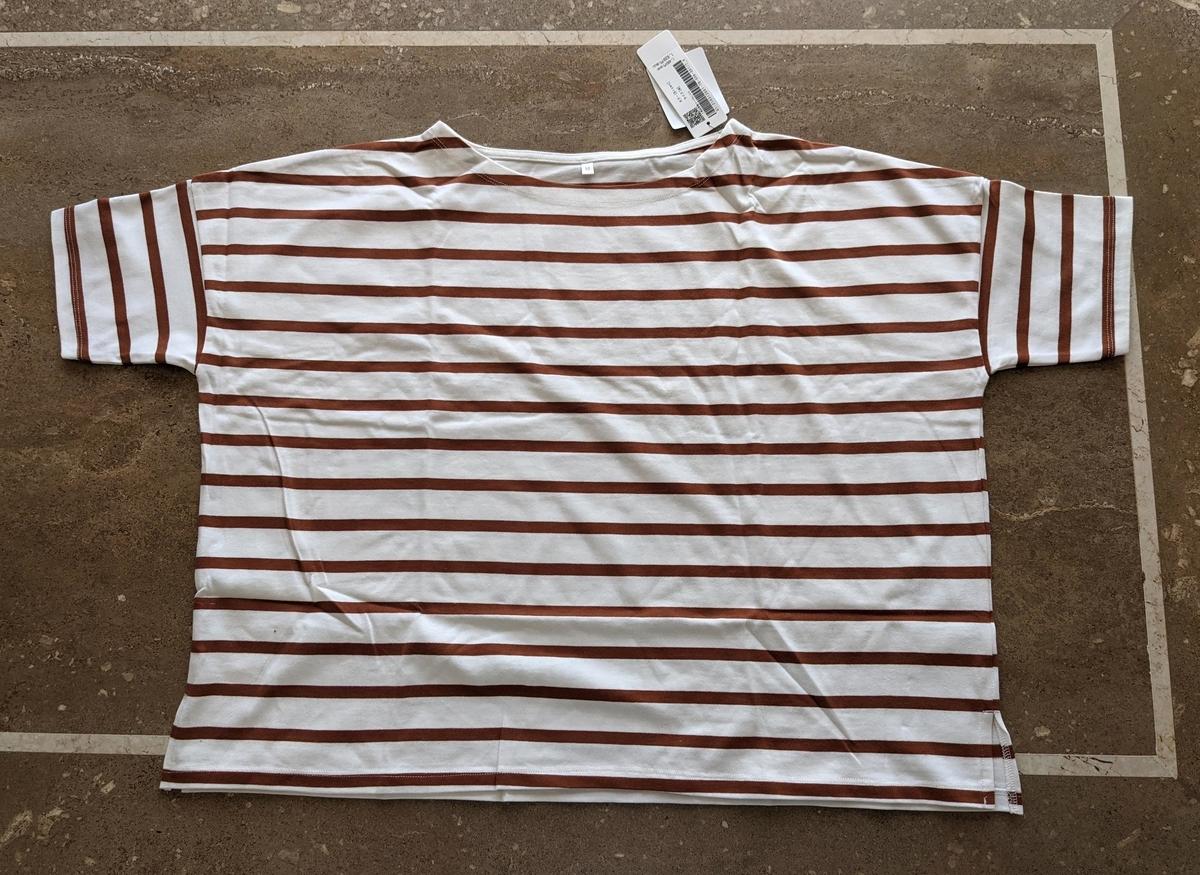 ボートネック5分袖ボーダーTシャツ