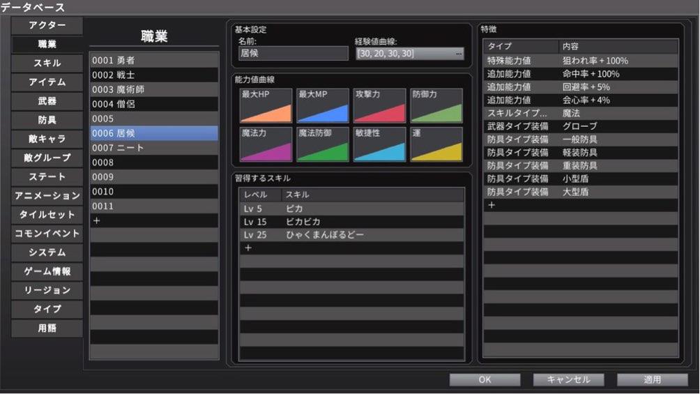 RPGツクールMV Trinityのデータベース画面の職業タブで居候という職業を作成