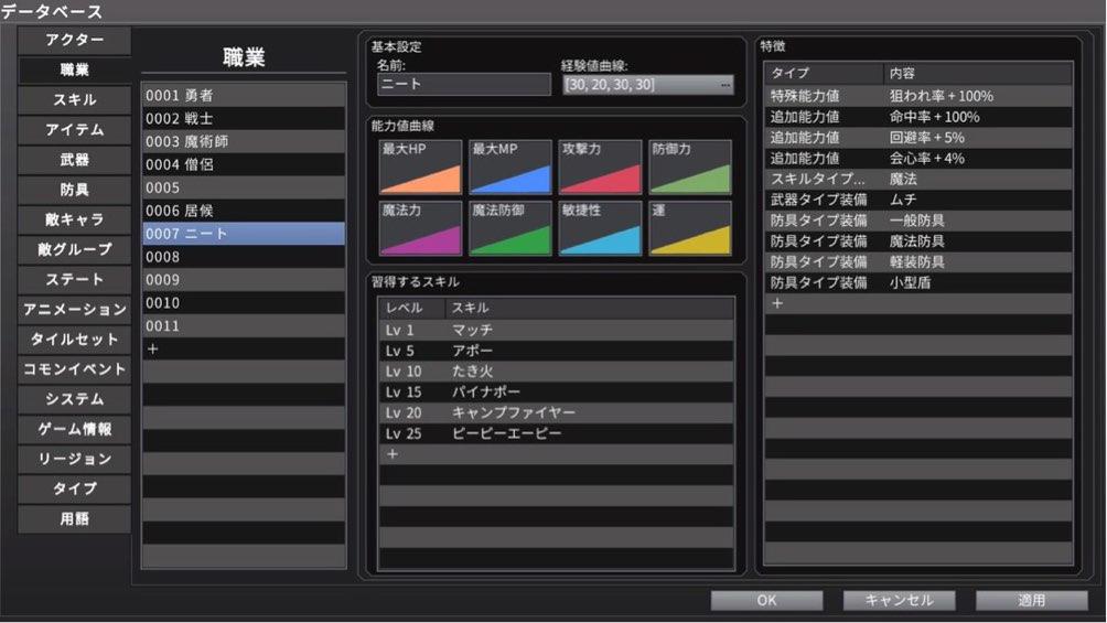 RPGツクールMV Trinityのデータベース画面の職業タブでニートという職業を作成