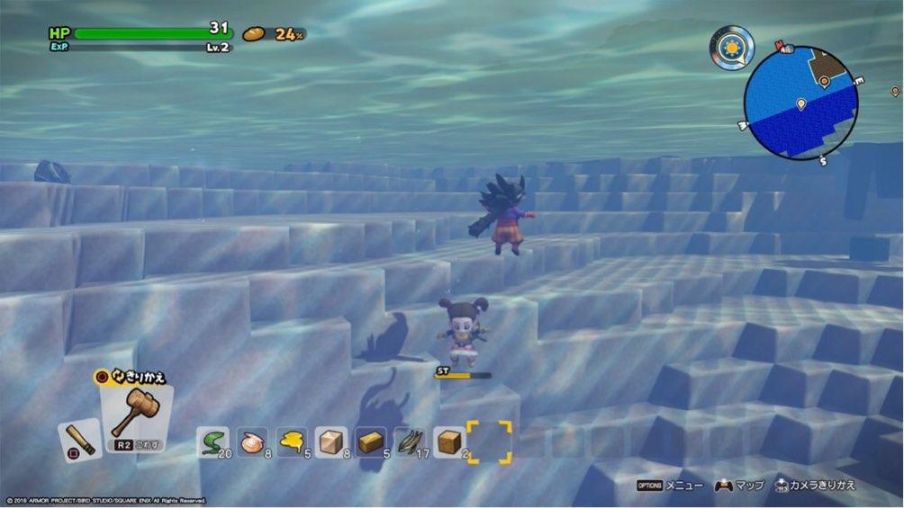 ドラゴンクエストビルダーズ2 で主人公が海に潜っている