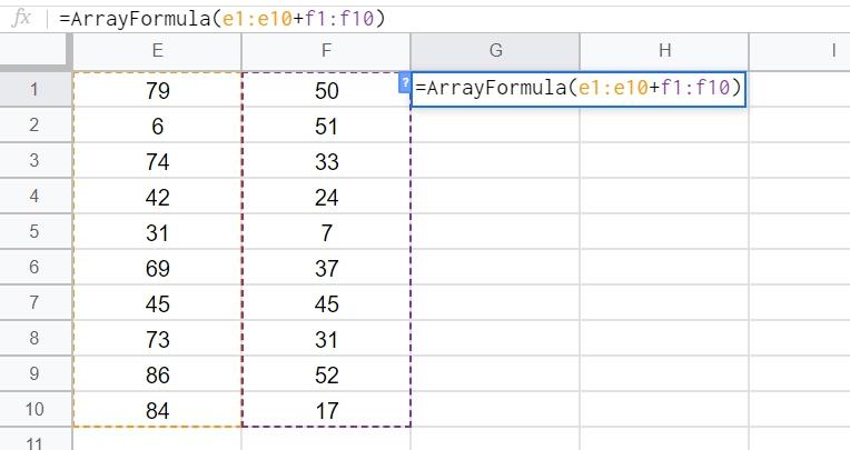 arrayformula関数を作るショートカット