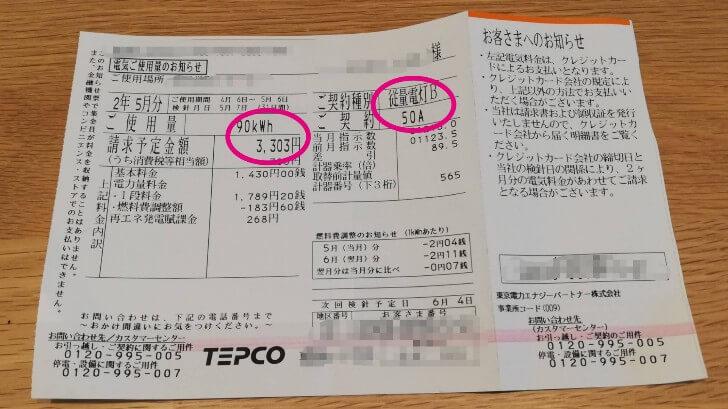 東京電力の「使用量のお知らせ」