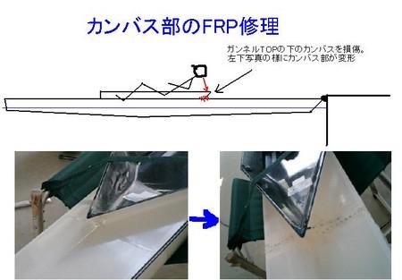 ガンネルTOP下カンバス修理