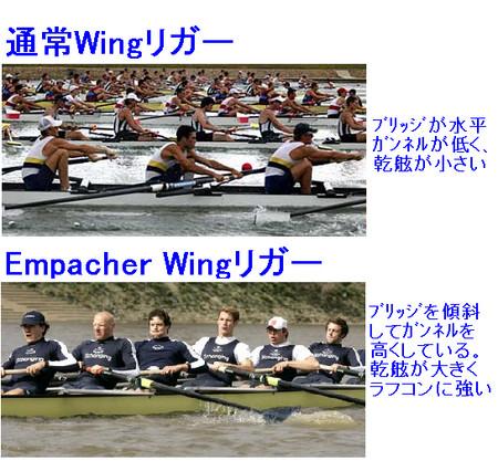 Wingリガー形状で乾舷の大小に差が出る