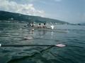 新型KF艇:軽いので良く浮いている。さあ~、いざ諏訪湖周航へ