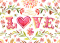[英語][love][style|ラブリー][文字|love][style|花柄] love