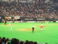 札幌ドーム。ファイターズ勝ってる!