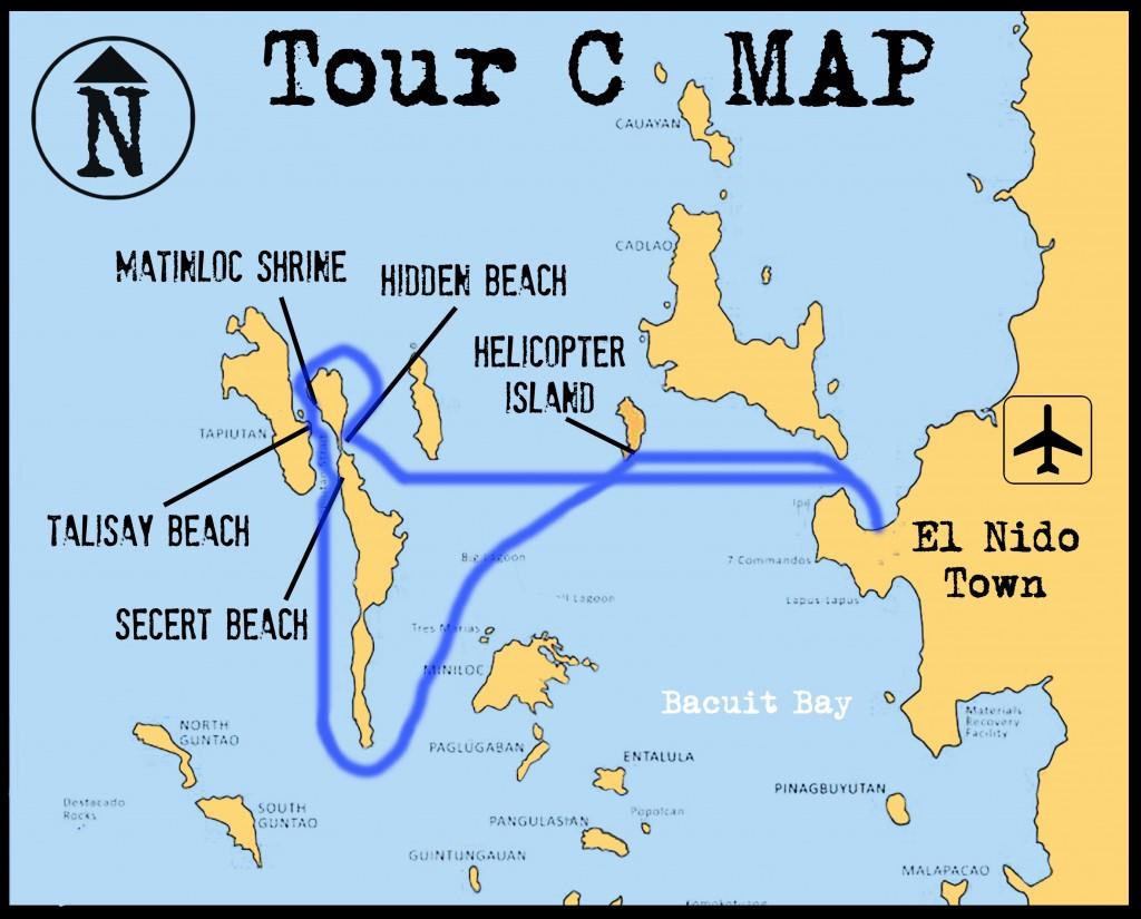 エルニドアイランドホッピングツアーCマップ