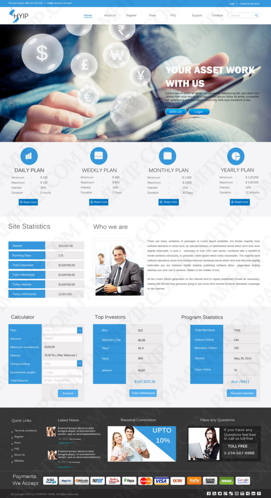Most graceful HYIP templates to attain new customers - PAM HYIP Script