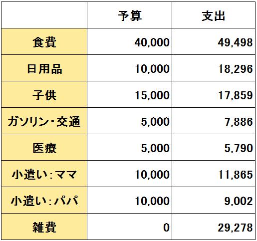 2016年11月度(11/20~12/19)の支出(変動費)