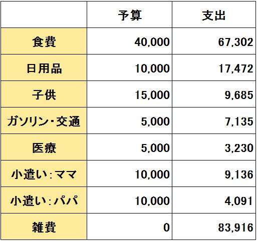 2016年12月度(12/20~1/19)の支出(変動費)