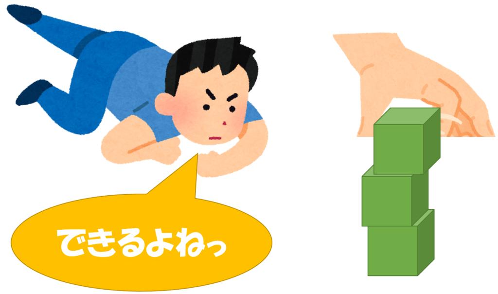 岡山市1歳6ヶ月健診の2回目の発達検査:積み木重ね
