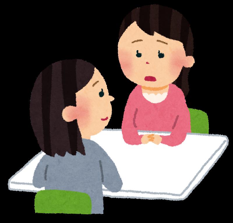 親に対して質問する臨床心理士の画像
