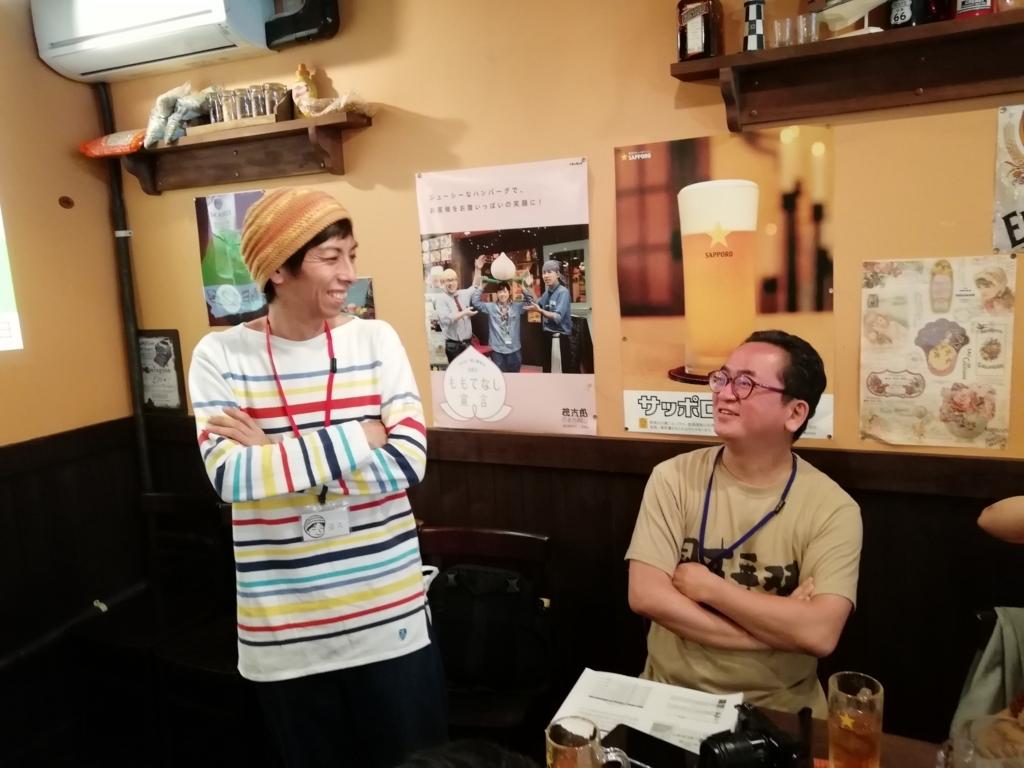岡ブロ第12回に参加したヨスさん(左側)と奥野大児さん(右側)