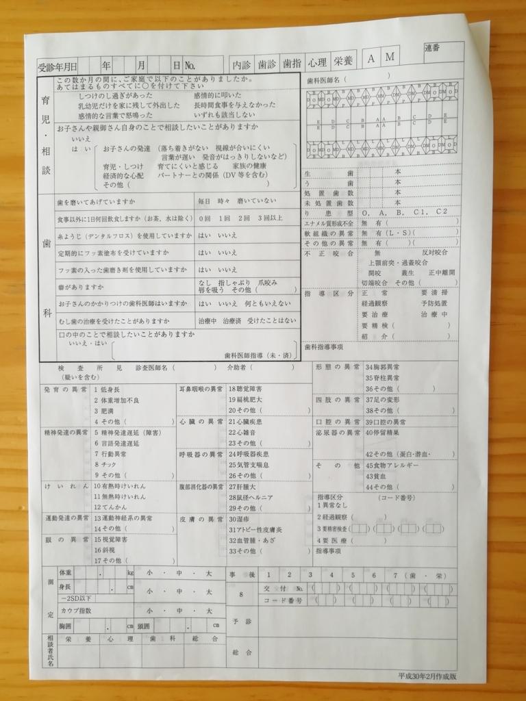 岡山市の三歳児健診健康診査票の右側