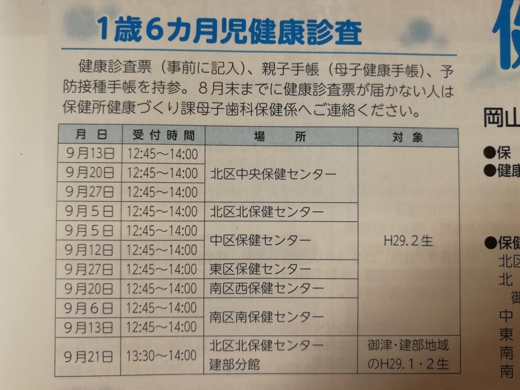 岡山市の1歳半健診の情報