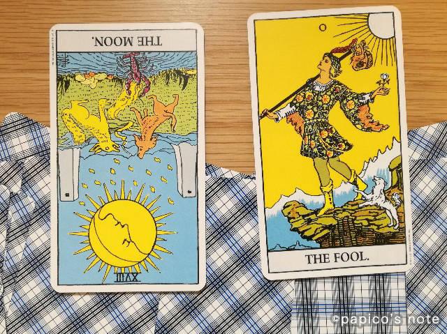 18番.月と0番.愚者のカード