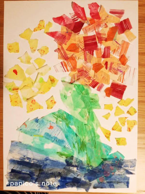 エリック・カール技法で絵を作る 旦那の作品