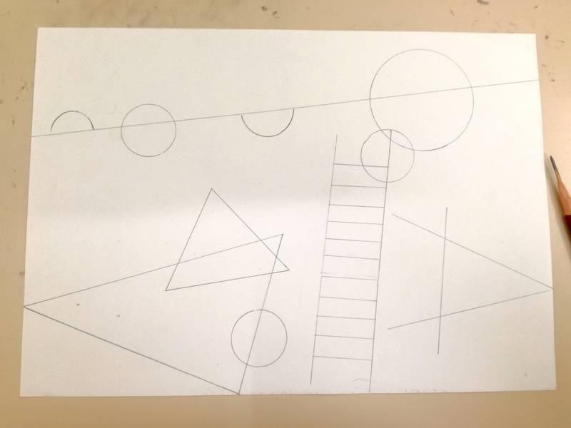 抽象画ワークショップ 下図を考える