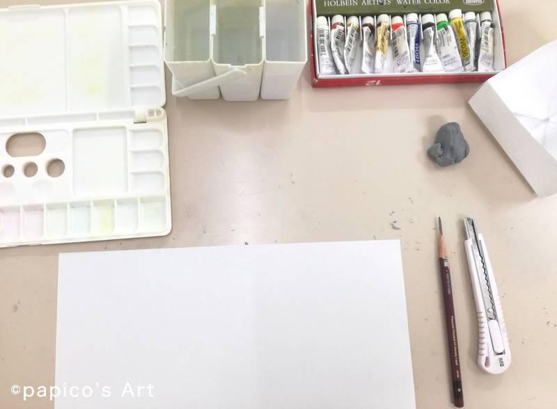 抽象画ワークショップ 鉛筆、透明水彩、パレット