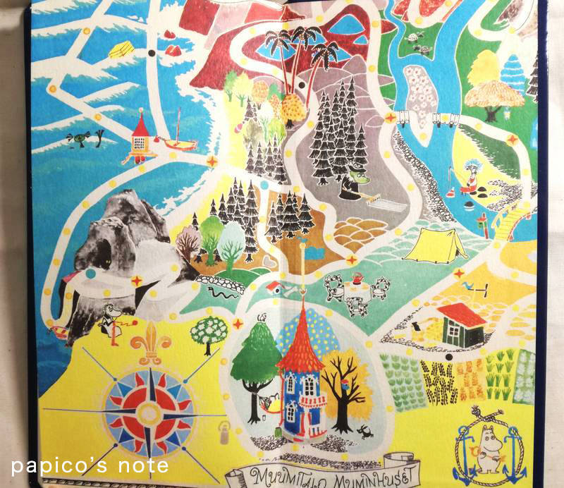 ムーミンのほぼ日手帳 裏の見開き ムーミン谷の地図イラスト(二枚目)