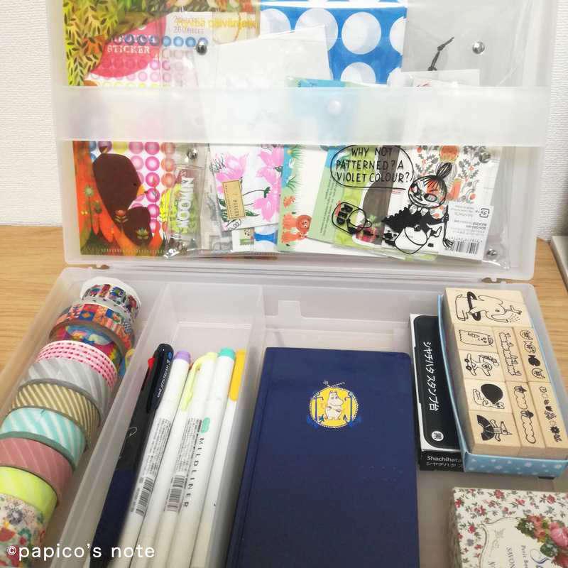 ほぼ日手帳を書く時のセットを無印の自立収納できるキャリーケースに入れる