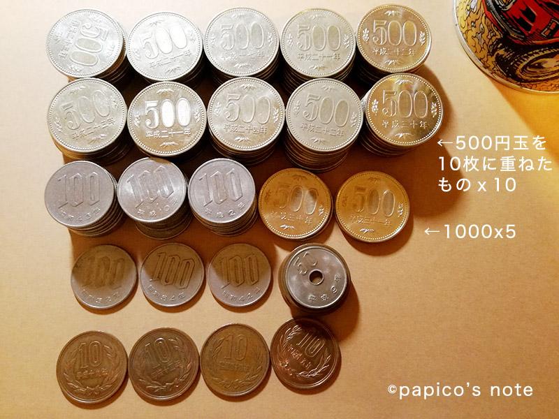500円玉貯金なのに10円玉とか