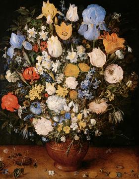 ヤン・ブリューゲル(父) 陶製の花瓶に生けられた小さな花束
